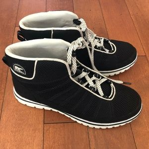 Sorel black and white ankle boots